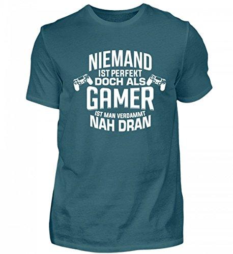 Niemand ist Perfekt Doch als Gamer ist Man Verdammt Nah Dran Herren T Shirt