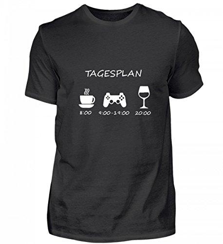 Tagesplan Kaffee Video Spiele Games Wein Trinken Herren T Shirt Geschenk für Freund Mann