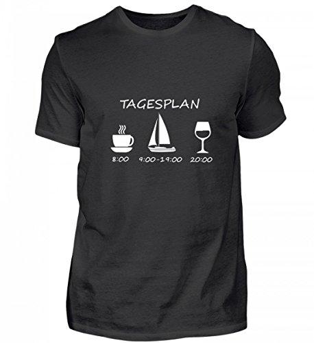 Galeriemode Hochwertiges Herren Shirt – Kaffee Segeln Boot tagesplan