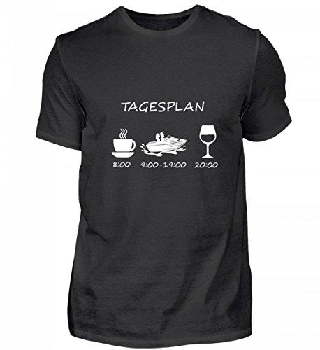Galeriemode Hochwertiges Herren Shirt – Kaffee Motor Boot Wein tagesplan