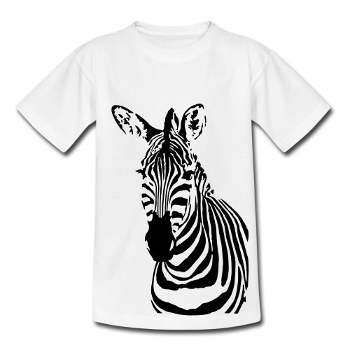 Spreadshirt Zebra Cooles Porträt Gestreiftes Wildpferd Teenager T-Shirt