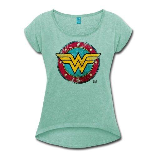 Spreadshirt DC Comics Wonder Woman Logo Used Look Frauen T-Shirt mit gerollten Ärmeln