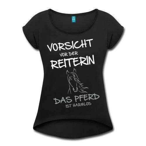 Spreadshirt Vorsicht Vor Der Reiterin Pferd Ist Harmlos Frauen T-Shirt mit gerollten Ärmeln