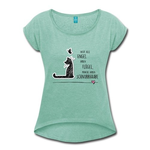 Spreadshirt Katzen Engel Schnurrhaare Schmetterling Frauen T-Shirt mit gerollten Ärmeln