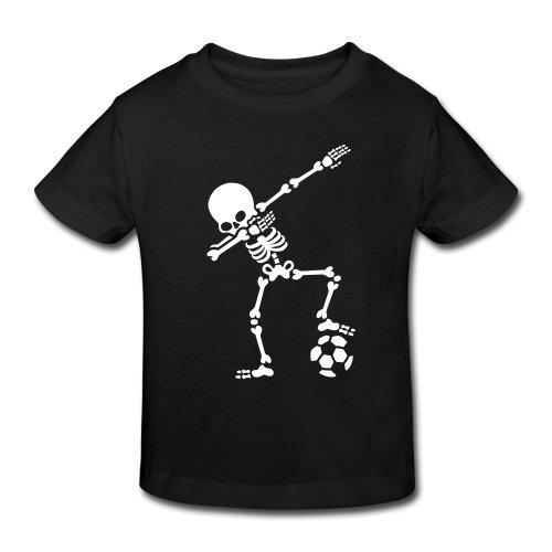 Spreadshirt Dabbing Skelett Mit Fussball Dab Gerippe Halloween Kinder Bio-T-Shirt